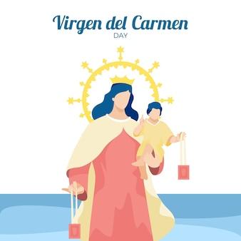 Ilustración plana virgen del carmen