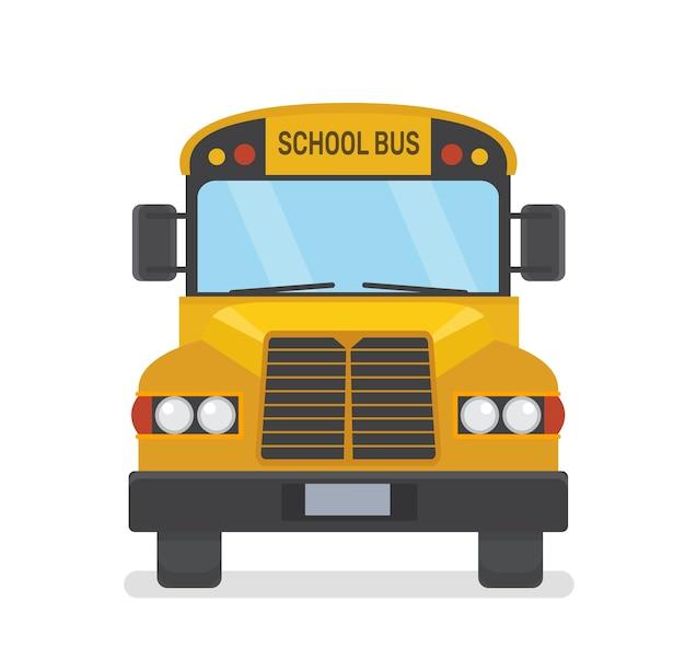Ilustración plana de la vista frontal del autobús escolar sobre fondo blanco