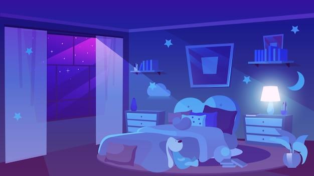 Ilustración plana de vista nocturna de dormitorio infantil. estrellas en el cielo violeta oscuro en ventana panorámica. interior de la habitación de niña con peluche, nubes decorativas en las paredes. mesitas de noche con jarrón, lámpara