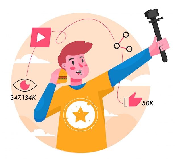 Ilustración plana de vlog youtuber