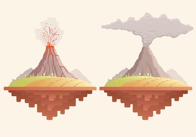 Ilustración plana con volcán en erupción.