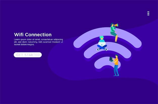 Ilustración plana wifi