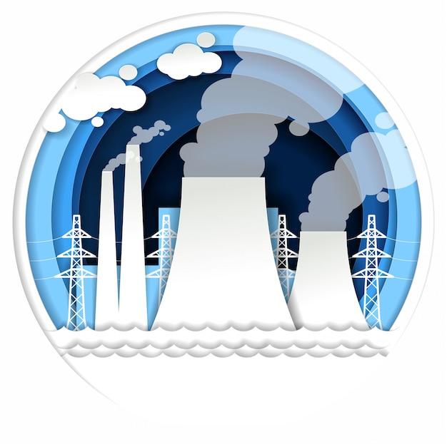 Ilustración de planta de energía térmica en papel estilo art