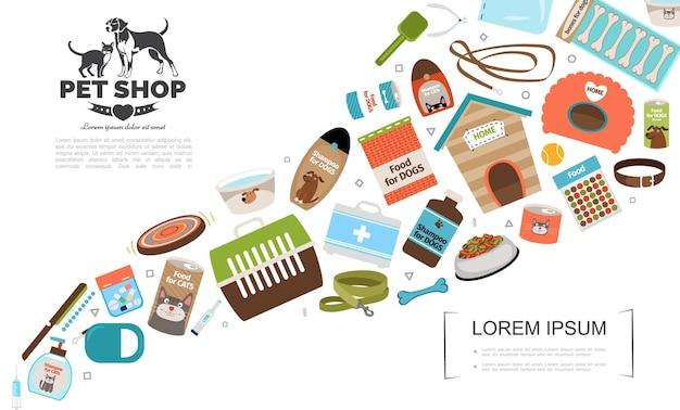 Ilustración de plantilla de accesorios planos para gatos y perros