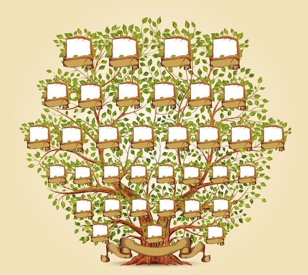 Ilustración de plantilla de árbol genealógico Vector Premium