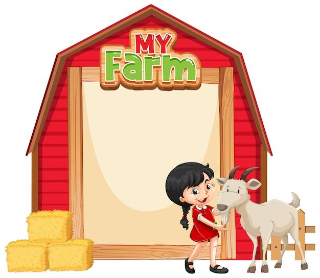 Ilustración de plantilla de borde con niña y cabra