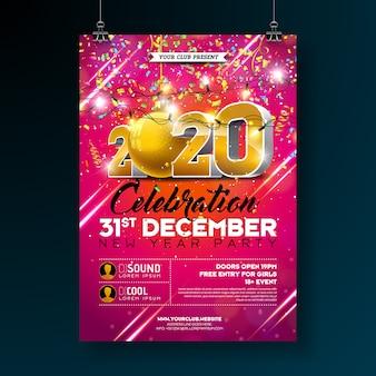 Ilustración de plantilla de cartel de celebración de fiesta de año nuevo con número 3d 2020 y confeti colorido que cae sobre fondo rojo