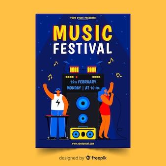 Ilustración de plantilla de cartel del festival de música