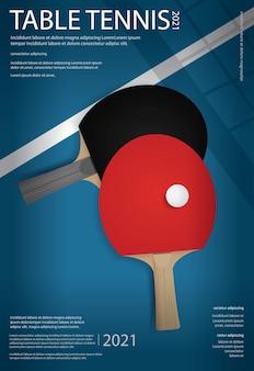 Ilustración de plantilla de cartel de tenis de mesa de ping-pong