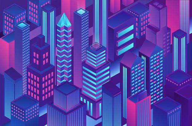 Ilustración de plantilla de ciudad de color degradado azul violeta de moda isométrica de criptografía, finanzas electrónicas en línea y banca segura.