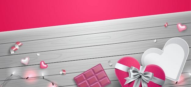 Ilustración de plantilla de composición de fondo de marco de san valentín 3d