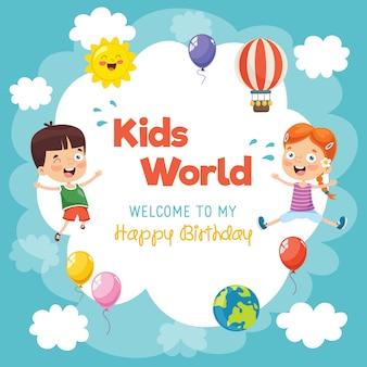 Ilustración de plantilla de cumpleaños de los niños
