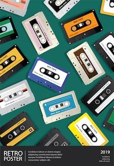Ilustración de plantilla de diseño de cartel de cinta de cassette retro vintage