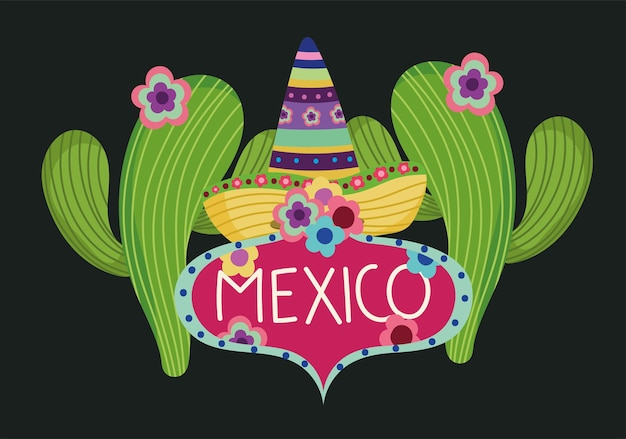 Ilustración de plantilla de etiqueta de cactus de flores de sombrero tradicional de cultura de méxico