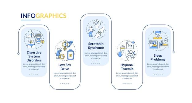 Ilustración de plantilla de infografía de efectos secundarios de estimulantes
