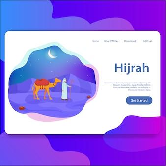 Ilustración de plantilla de interfaz de usuario moderna de página de aterrizaje de año nuevo islámico