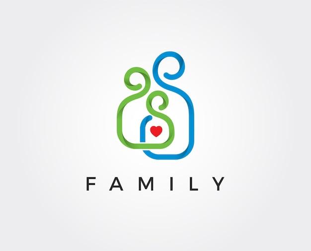 Ilustración de plantilla de logotipo familiar mínimo