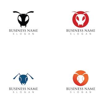 Ilustración de plantilla de logotipo de hormiga