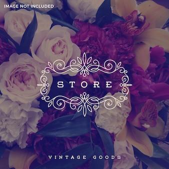 Ilustración - plantilla de logotipo de tienda con marco de adorno elegante caligráfico florece.