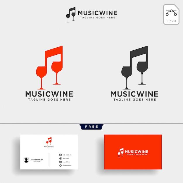 Ilustración de plantilla de logotipo de vino de música