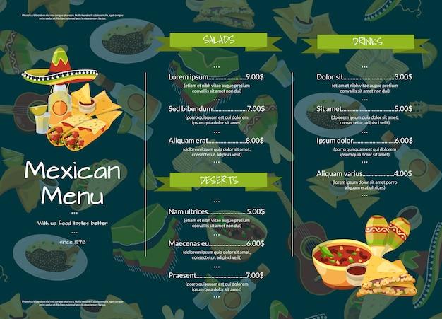 Ilustración de plantilla de menú de restaurante de cafetería de comida mexicana de dibujos animados