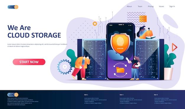 Ilustración de plantilla de página de destino de almacenamiento en la nube