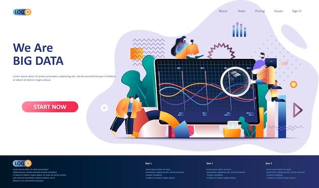 Ilustración de plantilla de página de destino de análisis de datos grandes