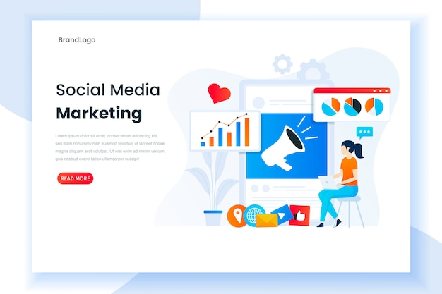 Ilustración de la plantilla de página de destino de analista de marketing de redes sociales