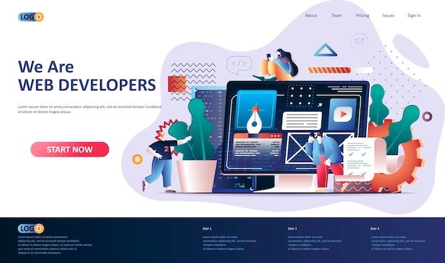 Ilustración de plantilla de página de destino de desarrollo web