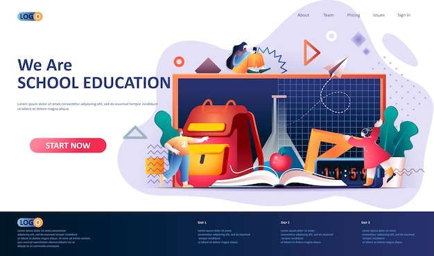 Ilustración de plantilla de página de destino de educación escolar