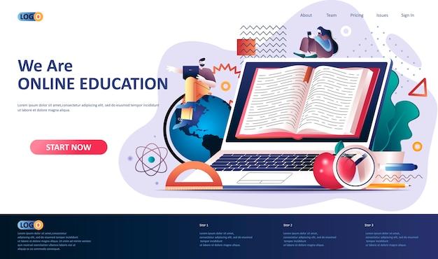 Ilustración de plantilla de página de destino de educación en línea