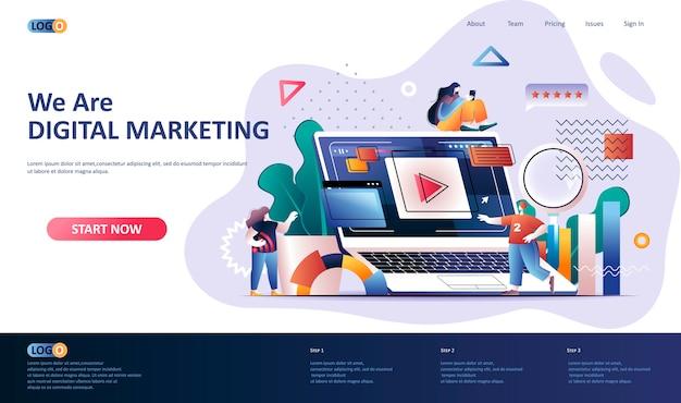Ilustración de plantilla de página de destino de marketing digital