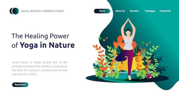 Ilustración para la plantilla de la página de destino - mujeres haciendo balance corporal, el poder curativo del yoga en la naturaleza
