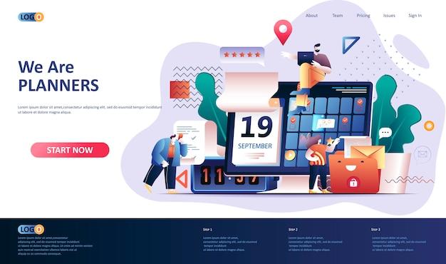 Ilustración de plantilla de página de destino de planificación