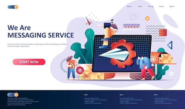 Ilustración de plantilla de página de destino de servicio de mensajería