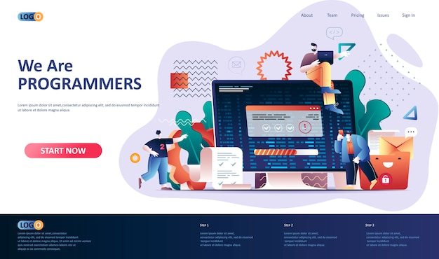 Ilustración de plantilla de página de destino de software de programación