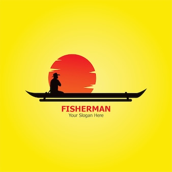 Ilustración de plantilla plana de logotipo de pescador