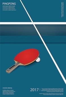Ilustración de plantilla de póster de ping pong