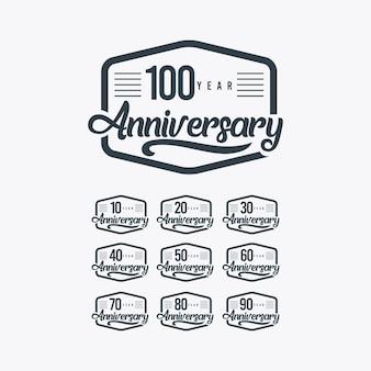 Ilustración de plantilla retro de celebración de aniversario de 100 años