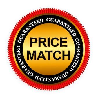 Ilustración de plantilla de signo de etiqueta de oro de garantía de igualación de precios