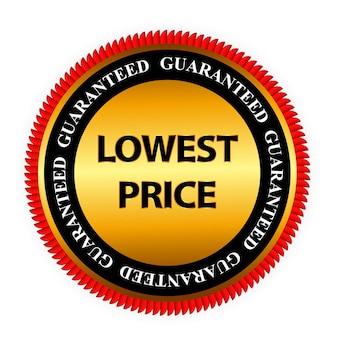 Ilustración de plantilla de signo de etiqueta de oro de garantía de precio más bajo