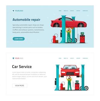 Ilustración de plantilla de sitio web de servicio de garaje de reparación de automóviles, mecánico de dibujos animados como reparador persona reparando vehículo en banner de taller moderno, hombre trabajador debajo del coche levantado