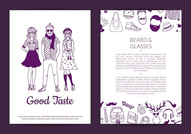 Ilustración de plantilla de tarjeta de iconos de doodle de hipster