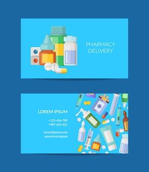 Ilustración de plantilla de tarjeta de visita de tienda de farmacia o entrega