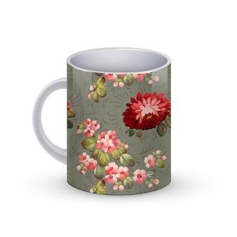 Ilustración de plantilla de taza de café con flores patrón tradicional ruso.
