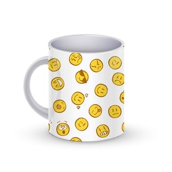 Ilustración de plantilla de taza de café con patrón de doodle de sonrisas.
