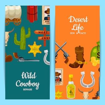 Ilustración de plantillas de banner web de elementos del salvaje oeste de dibujos animados