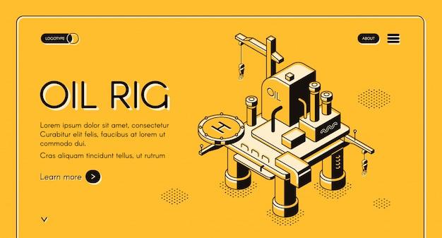Ilustración de plataforma costa afuera de plataforma petrolera en diseño de línea isométrica sobre fondo de semitono amarillo