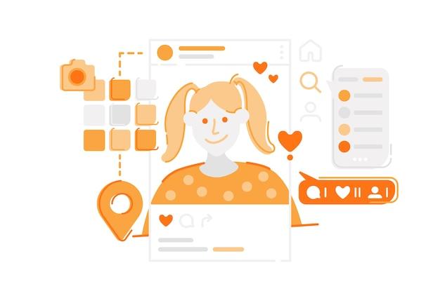 Ilustración de plataforma de medios sociales de instagram