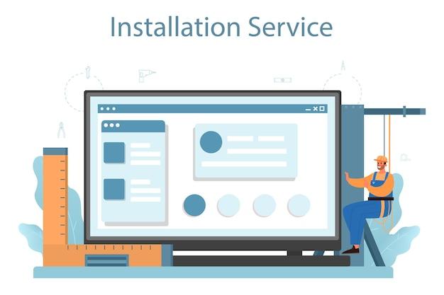 Ilustración de plataforma o servicio en línea del instalador